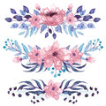 Set Of Watercolor Bouquets With Pink Flowers Royalty Free Stock Photo