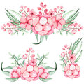 Set Of Watercolor Bouquets With Pink Flowers and Leaves