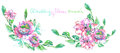 Set of watercolor bouquets with pink and purple flowers and green leaves