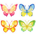 Set of watercolor butterflies on a white background