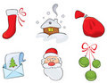 Set of watercolor Christmas drawings Stock Photos