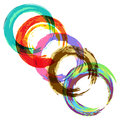 Set of watercolor circles five colored imitating on white background Royalty Free Stock Photo