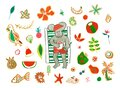 Set with watercolor Dad mouse drinks cocoa tropical Christmas holiday Royalty Free Stock Photo