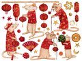 Set of watercolor elements with rats in red costumes for the celebration of the Chinese New Year 2020.