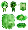 Set of watercolor green and blue badges and labels. Vector artistic elements on white rumple paper background for nature, organic