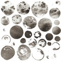 Set of watercolor grey circles different sizes