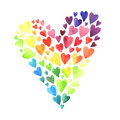 Set of watercolor hearts Royalty Free Stock Photo