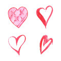 Set of watercolor hearts on white background . Sketch style icon