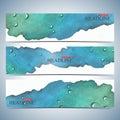 Set of watercolor horizontal backgrounds. Modern page website design template . Vector Illustration