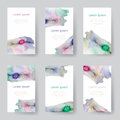 Set of watercolor identify backgrounds card, tags, invitations. Vector illustrated Royalty Free Stock Photo