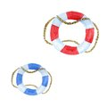 Set of watercolor lifebuoys. Red and blue lifebuoy.
