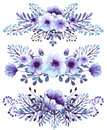 Set Of Watercolor Light Blue And Violet Flowers Bouquets Royalty Free Stock Photo