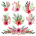Set Of Watercolor Little Bouquets with Bright Red Flowers