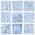 Set of watercolor patterns. Blue ornaments on a white background. Handwork