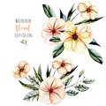 Set of watercolor pink flowers and leaves bouquets illustration