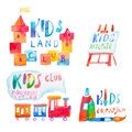 Set of watercolor promo signs with letterings for kids club Royalty Free Stock Photo