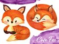 Set of watercolor red fluffy foxes in motion on white