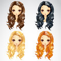 Set of wave long hair styling vector illustration in different colours for woman Royalty Free Stock Photo