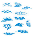 Set of wave symbols Stock Photography
