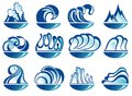Set of wave symbols for design isolated on white Royalty Free Stock Photography