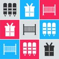 Set Wax crayons for drawing, Gift box and Baby crib cradle bed icon. Vector Royalty Free Stock Photo