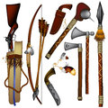 Set of  weapons American Indian Stock Image