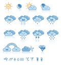 Set of weather blue icons vector illustration Royalty Free Stock Photos