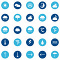 Set of weather icons on color background,  illustration Royalty Free Stock Photo