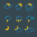 Set of weather icons vector illustration season outline design thunder temperature sign