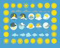 Set of weather icons vector. Sun, cloud, rain, moon Royalty Free Stock Photo