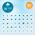 Set of weather icons and widget template different Royalty Free Stock Images
