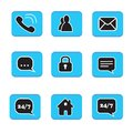 Set of web button icons contact symbol collection black and whit Royalty Free Stock Photo