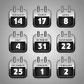 Set Web Calendar Icons Royalty Free Stock Image