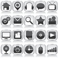 Set of web glass icons on white background Royalty Free Stock Photography