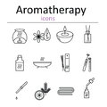 Set of web icons for aromatherapy oil burner aromatic sticks aroma oils candles and other accessories for aromatherapy vector Stock Photo