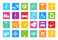 Set of web icons for the in blue green yellow orange red and pink colors Royalty Free Stock Image