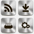 Set of web icons on metallic buttons vol this is file eps format Stock Images