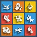 Set of web and mobile animals icons vector in flat design symbols cat dog octopus spider pig cow unicorn sheep fish Royalty Free Stock Images