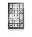 Set of web and multimedia icons on a screen mobile phone Royalty Free Stock Photography