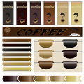 Set website the coffee of ribbons and frames bar design banners icon Stock Photo
