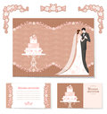 Set of wedding cards beautiful invitations and design elements with space for text Royalty Free Stock Photography