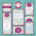 Set of wedding cards invitations thank you card save the date card table card rsvp card and menu Stock Photography