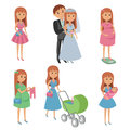 Set of wedding couple, pregnant woman, mother with baby. Vector illustration. Royalty Free Stock Photo