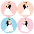 Set of wedding couples as bride and groom blond and dark hair brunette blue and brown eyes as design elements for wedding Royalty Free Stock Photos