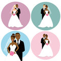Set of wedding couples international as bride and groom african and caucasian design elements for invitation decor or cake Stock Photography