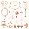 Set of wedding design elements decoration Royalty Free Stock Images