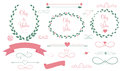 Set of wedding graphic elements with arrows hearts laurel ribbons and labels vector illistration Royalty Free Stock Photos