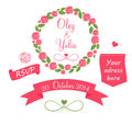 Set of wedding graphic elements with arrows hearts laurel ribbons and labels vector illistration Royalty Free Stock Image