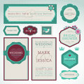 Set of wedding invitation cards Stock Photos