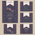 Set of wedding invitation cards with hearts thank you card rsvp card reception save the date Stock Photos